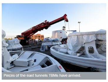 Pieces of east tunnels TBMs being delivered