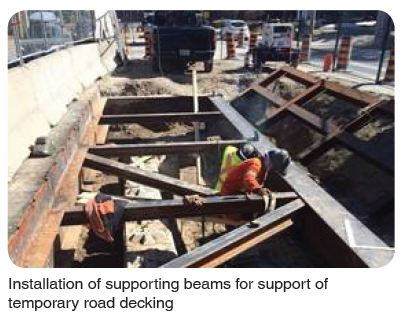 installation of supporting beams