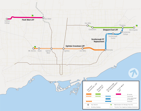 Toronto Transit Projects map
