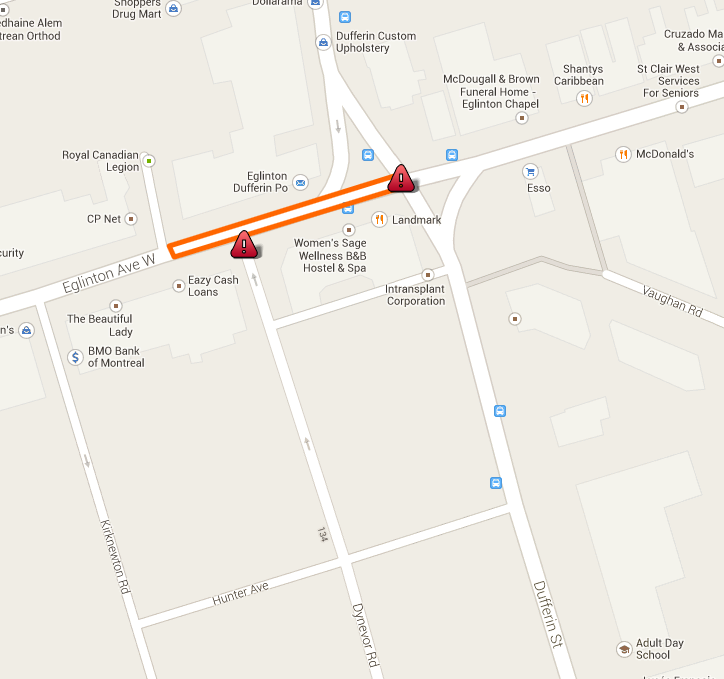 Dufferin street closure map 2