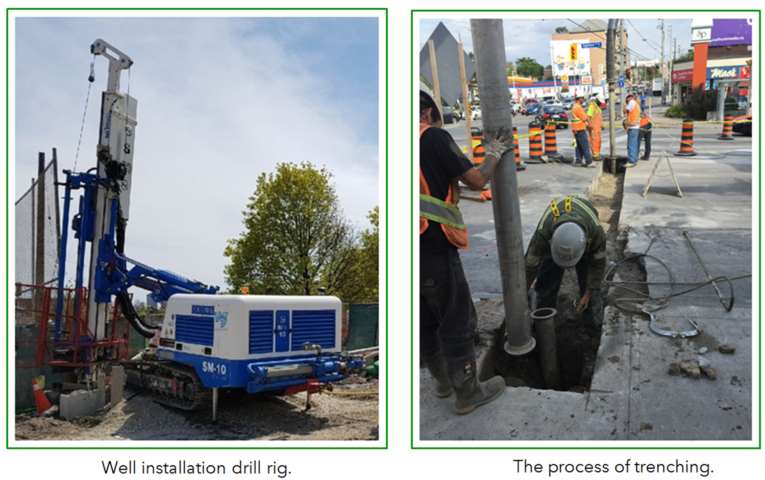 Photos of well installation drill rig and the process of trenching.