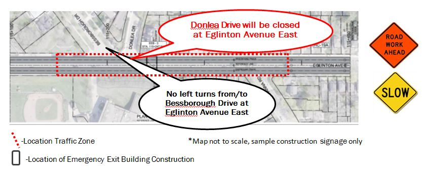 Donlea closure at Eglinton for EEB construction Phase 1