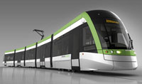An artist's rendering of the light rail vehicle