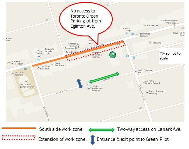 Map showing sewer repair work on Eglinton at Oakwood