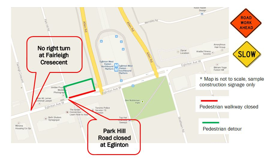 Park hill road closure for extraction shaft construction crosstown