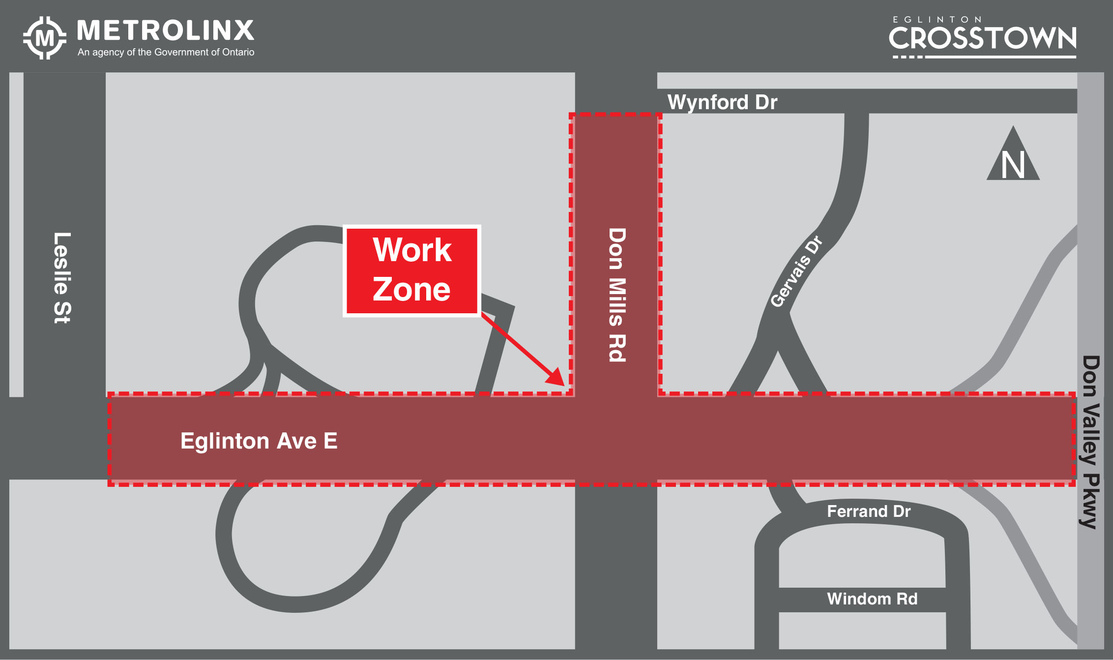 Map showing work zone along Eglinton Avenue East from Leslie Street to the Don Valley Parkway, and on Don Mill Road from Eglinton Avenue East to Wynford Drive.